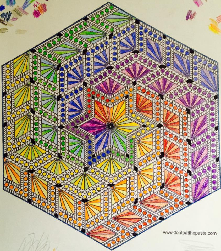 don t eat the paste diamond hexagon mandala to color