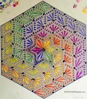 Hand colored hexagon diamonds mandala- colored by Brandy Viele