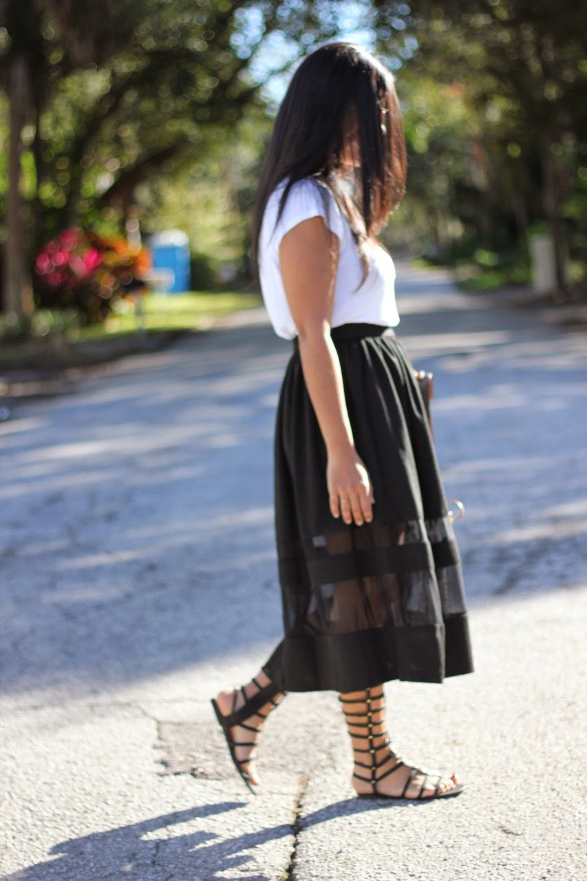 sheer midi skirt louis vuitton ray ban gladiator flat sandal