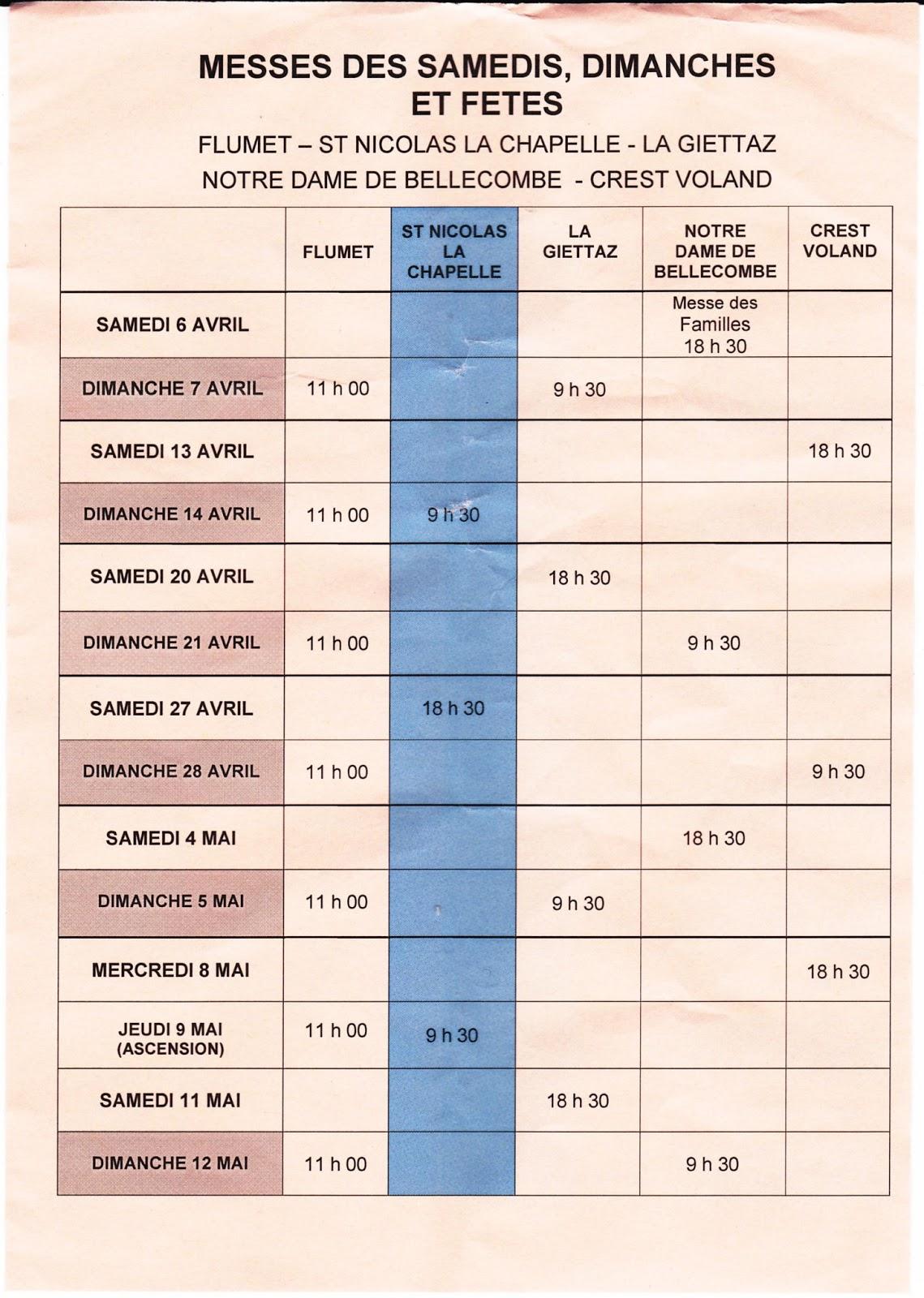 Calendrier des messes en val d 39 arly - Changement d heure printemps 2017 ...