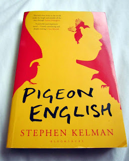 pretty, book covers, beautiful, awesome, good, paperback, hardbacks, photograph, illustrations, stack, pile of books, spines, appreciate, Stephen Kelam, Pigeon English, yellow, red, London, gangs