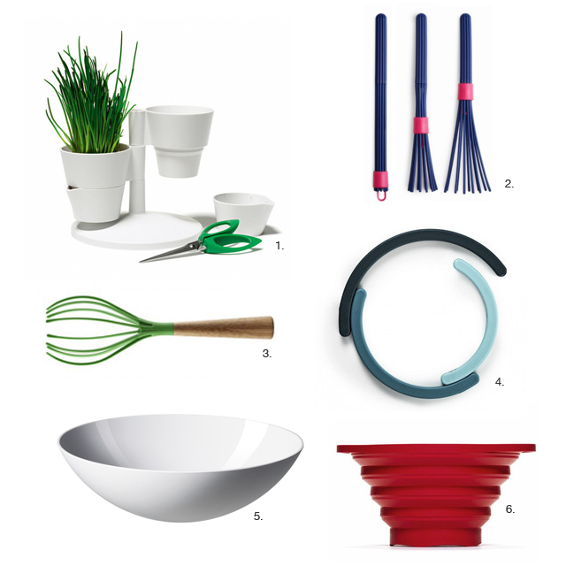 Normann Copenhagen's herb stand, beater whisk, whisk, rainbow trivet, and krenit salad bowl