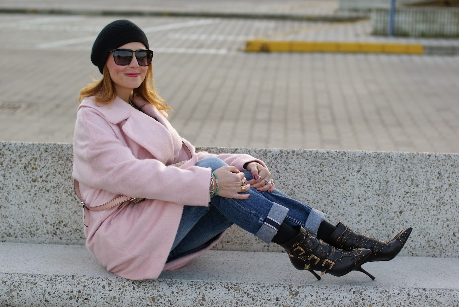 oversized pink coat, cesare paciotti chloé susanna lookalikes, gucci pink bag, owl sweater, fashion and cookies, fashion blogger