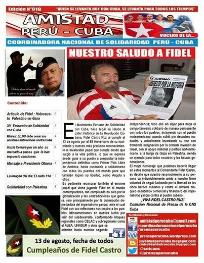 """BOLETÍN Nª018 """"AMISTAD PERÚ CUBA"""""""
