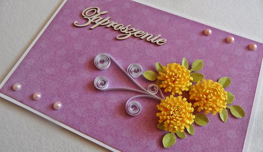 quilled flowers zaproszenie kartka na zamówienie