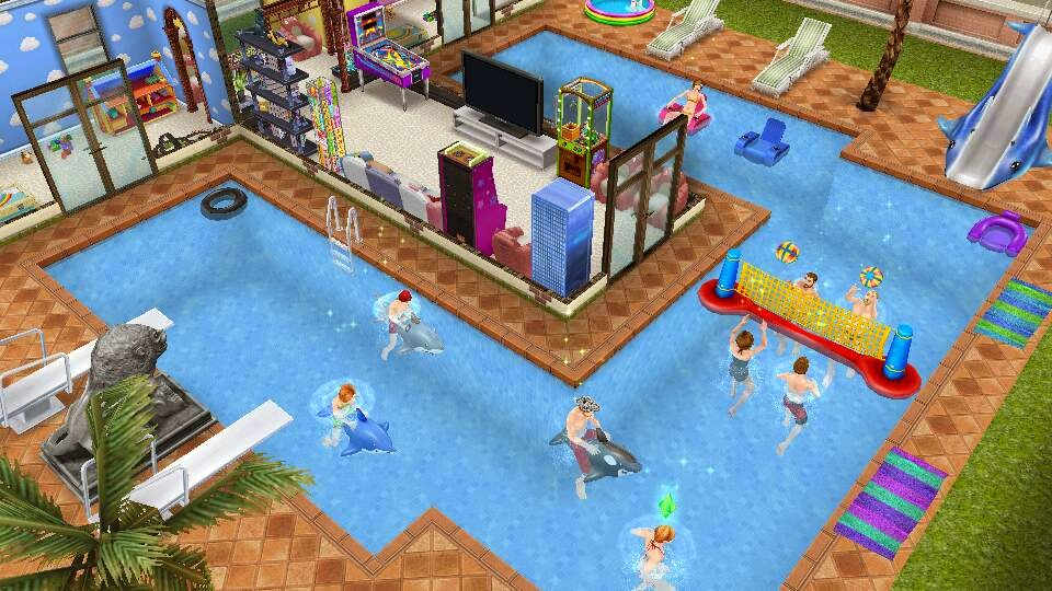 Los sims freeplay fan une piscinas y crea dise os for Casa de diseno the sims freeplay