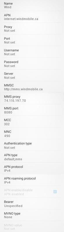 Wind Mobile APN Settings for Android