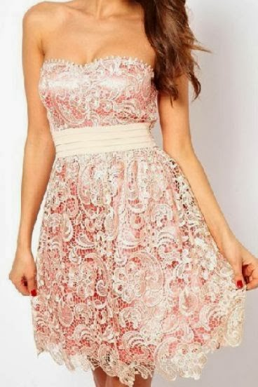 Apricot Embroidered Lace Dress