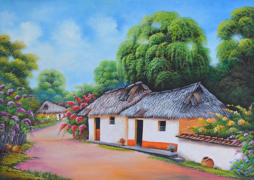 Cuadros modernos pinturas y dibujos pinturas paisajes al - Paisajes de casas ...