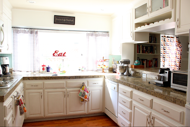 our kitchen before after - Maroon Kitchen 2015
