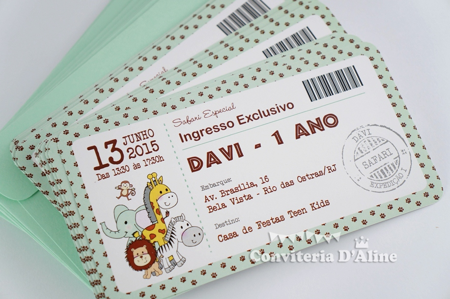 Foram convites (modelo ingresso), adesivos diversos, toppers, wrappers