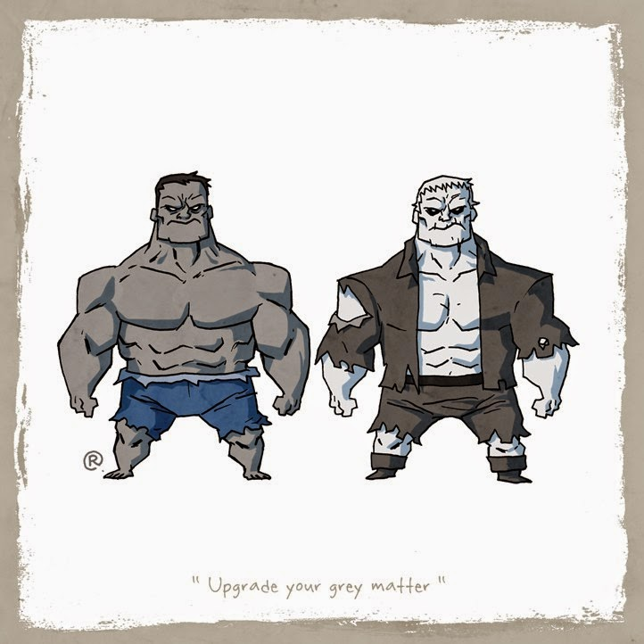Gray Hulk and Grundy standing side by side annoyed.