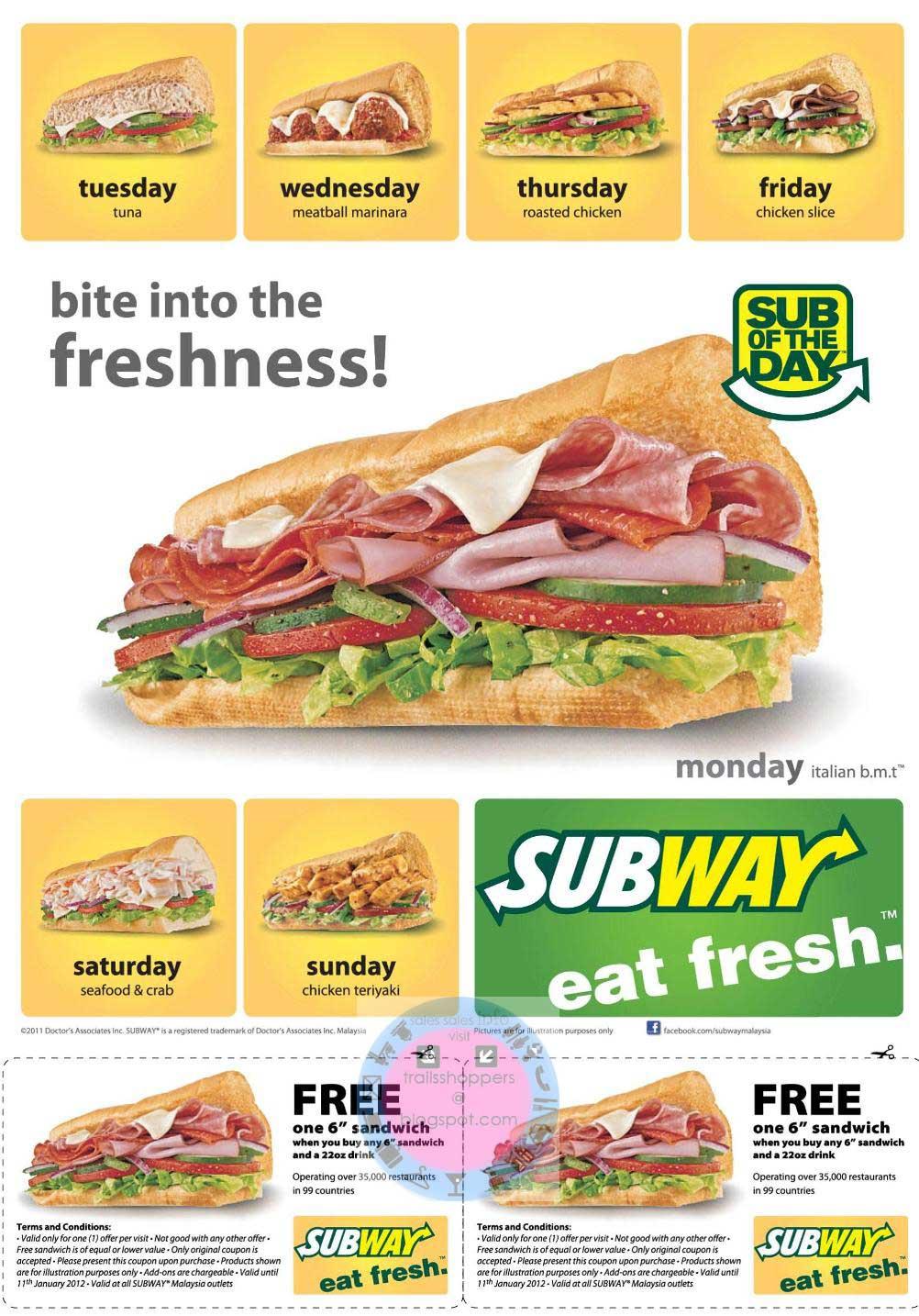 Subway subs coupons
