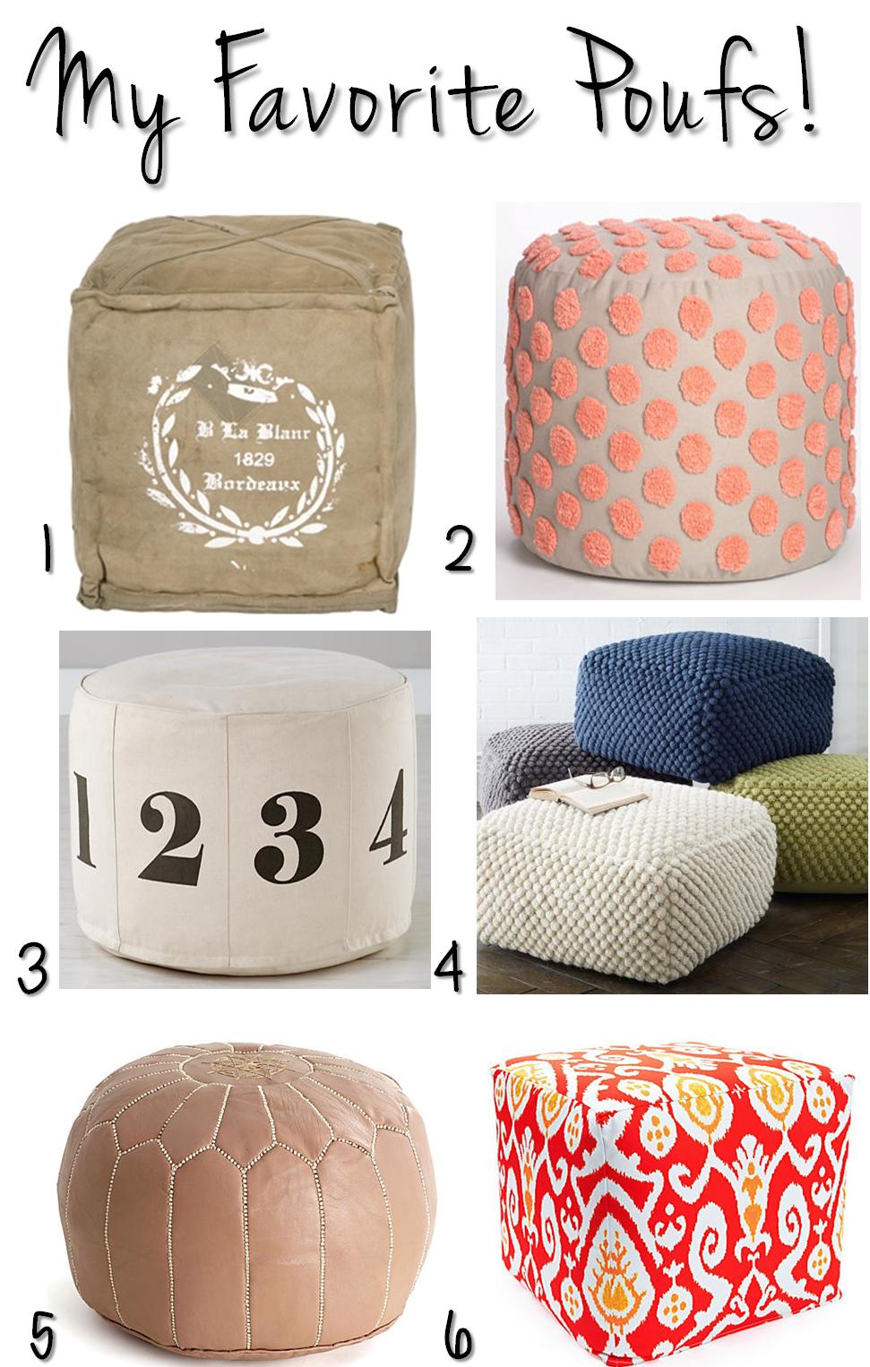 poufs. Black Bedroom Furniture Sets. Home Design Ideas