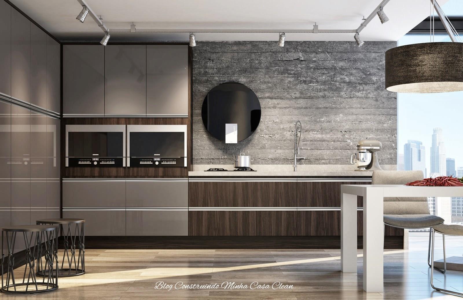 Construindo Minha Casa Clean Cozinhas Modernas Com Cinza  -> Sala Toda Cinza