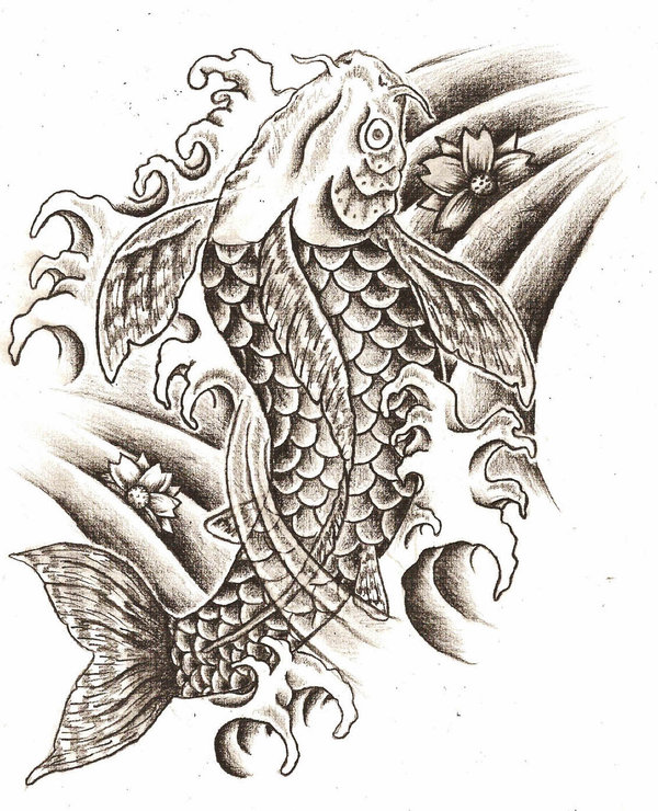 Black and white koi fish couple tattoo design male for Black white koi