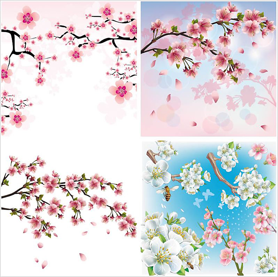 桜の木の背景 cherry blossom backgrounds with tree branches and flowers イラスト素材
