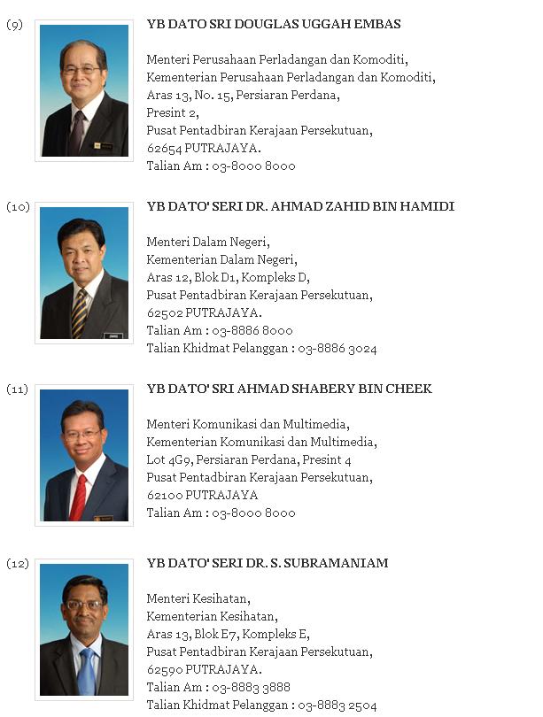 Senarai Nama dan Alamat Menteri Malaysia 2013