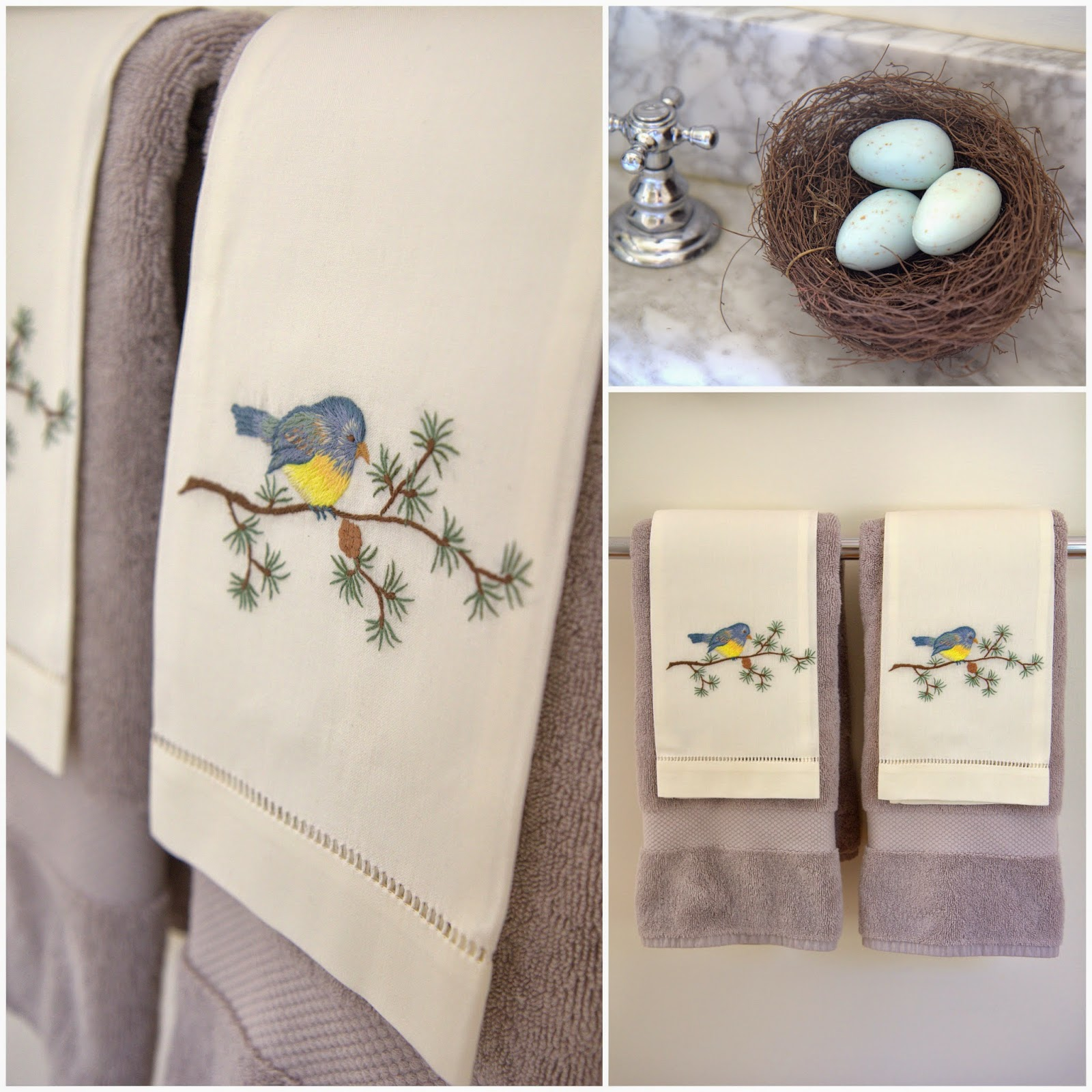 Woodland Party; embroidered bird towls and nest with egg soaps; bathroom decor: Nora's Nest