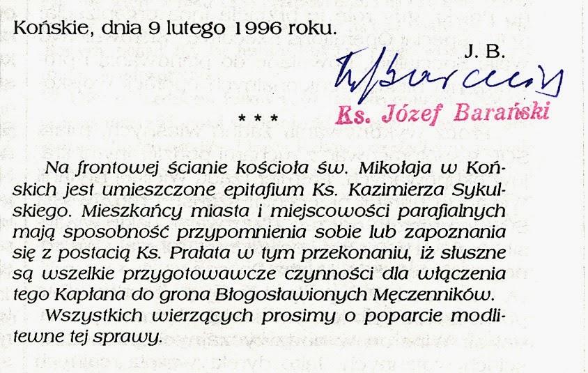 Skarbiec Kultury Ziemi Koneckiej, nr 4 z 1996 r. Fragment artykułu z podpisem ks. Józefa Barańskiego. W zbiorach KW.