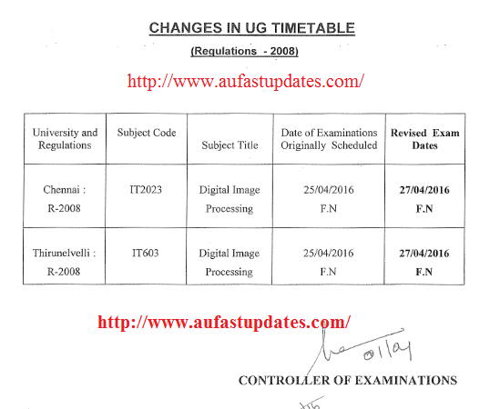 Anna university results 2016 april may for 6th sem time table