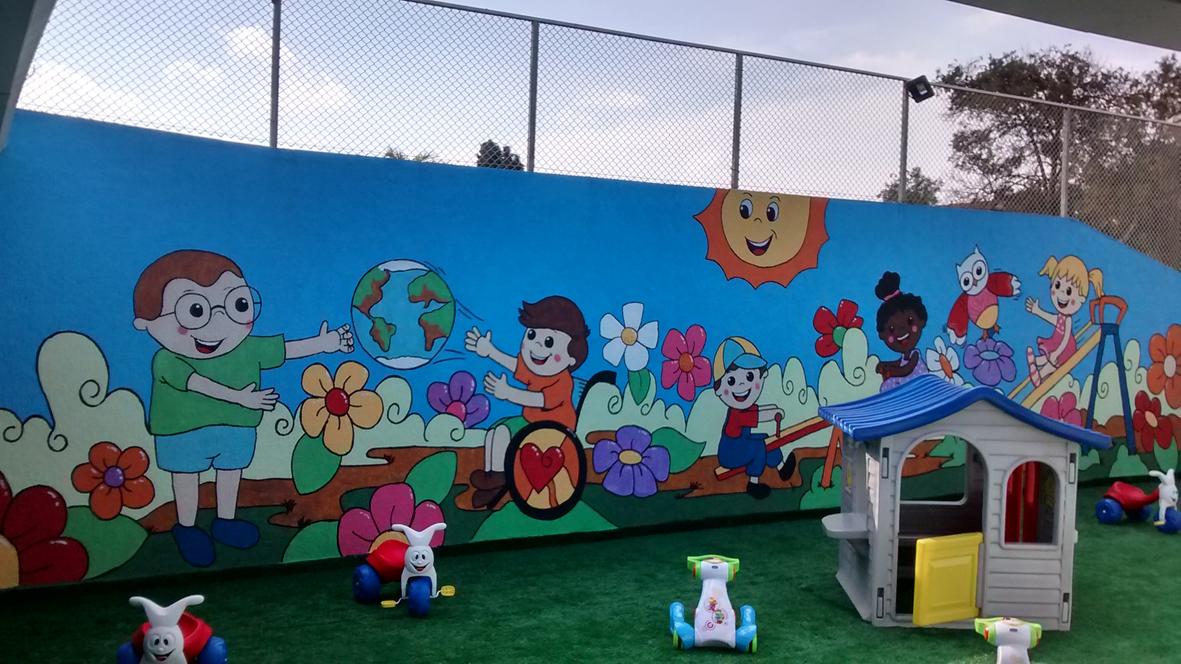 Arte poesia decora o cenografia pintura muro de parque - Pintura infantil pared ...