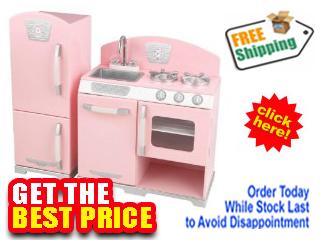 Kidkraft Pink Retro Kitchen Refrigerator 53160