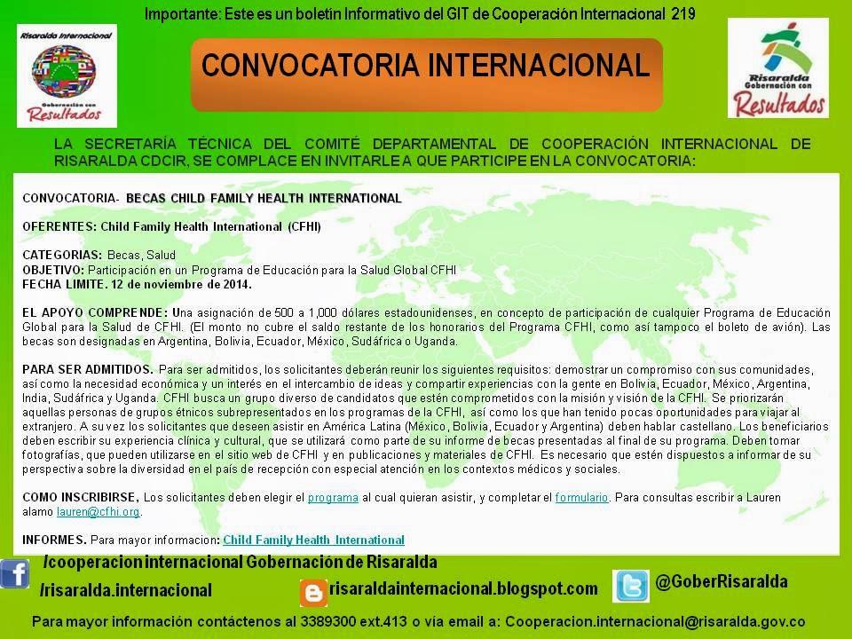 Convocatorias Internacionales - Risaralda: BOLETIN 219 ...