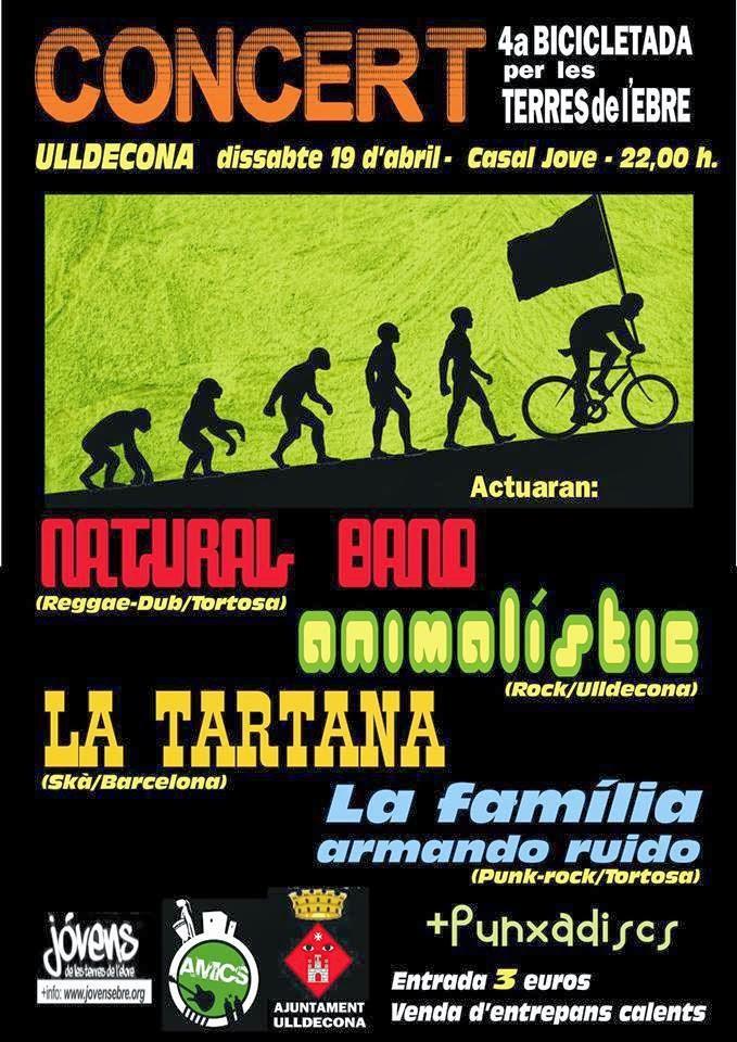 Cartell concert final de la 4a bicicletada per les Terres de l'Ebre. Al Casal Jove d'Ulldecona, 19 d'abril.
