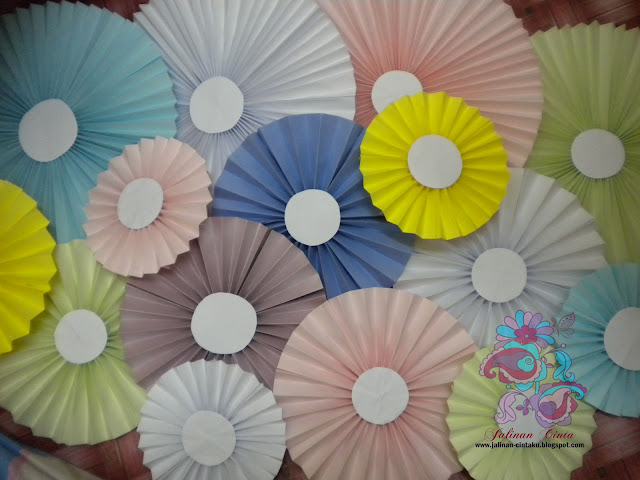 DIY paper wheel decor backdrop