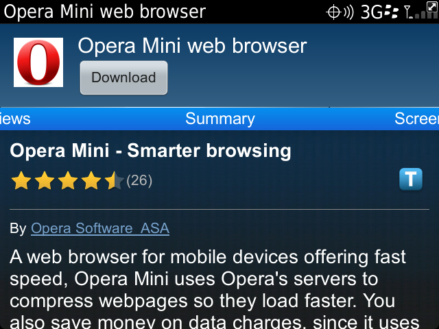 descargar opera mini para blackberry 8520 gratis