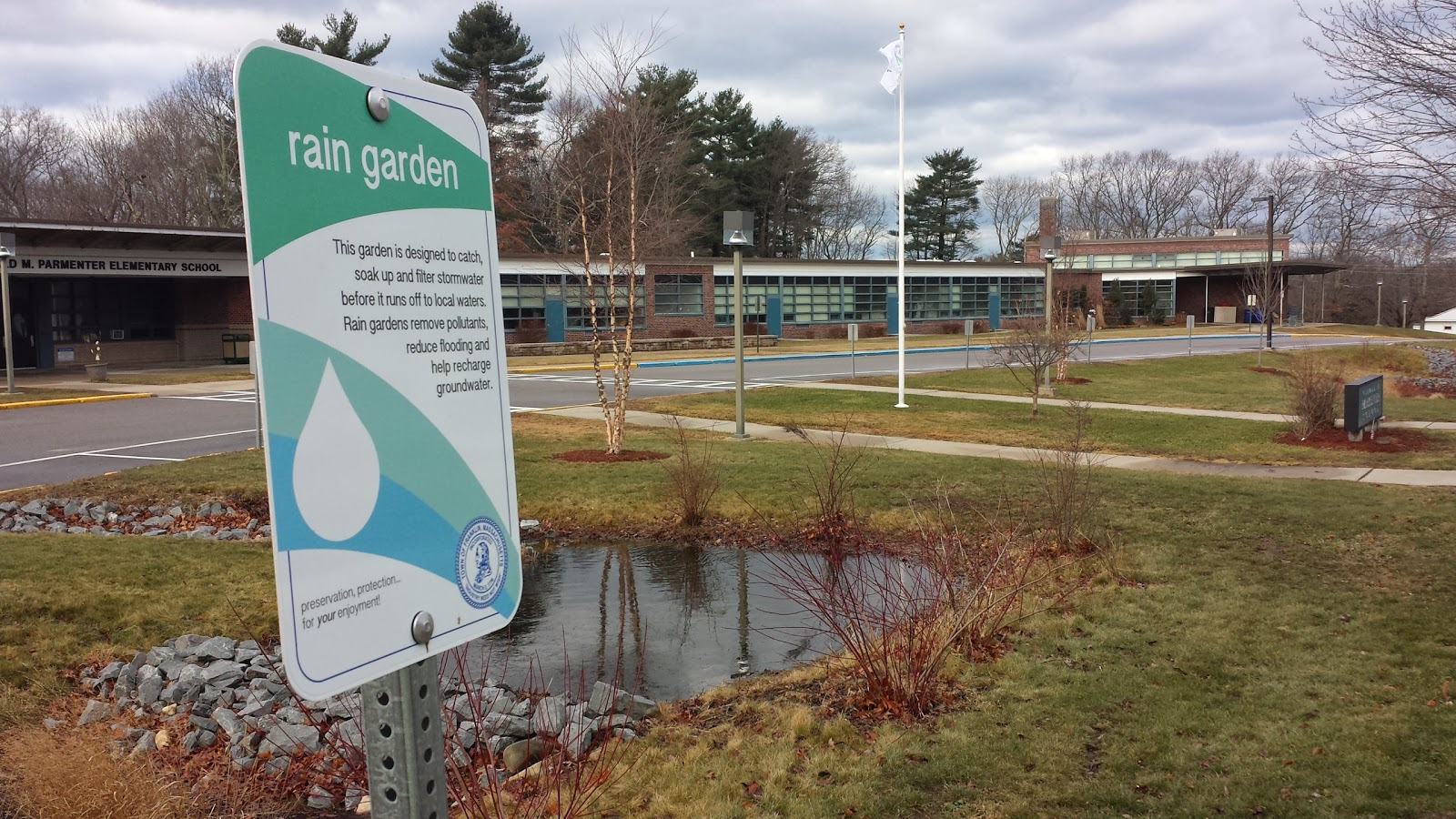 one of the many rain gardens around Franklin can be found at the Parmenter School