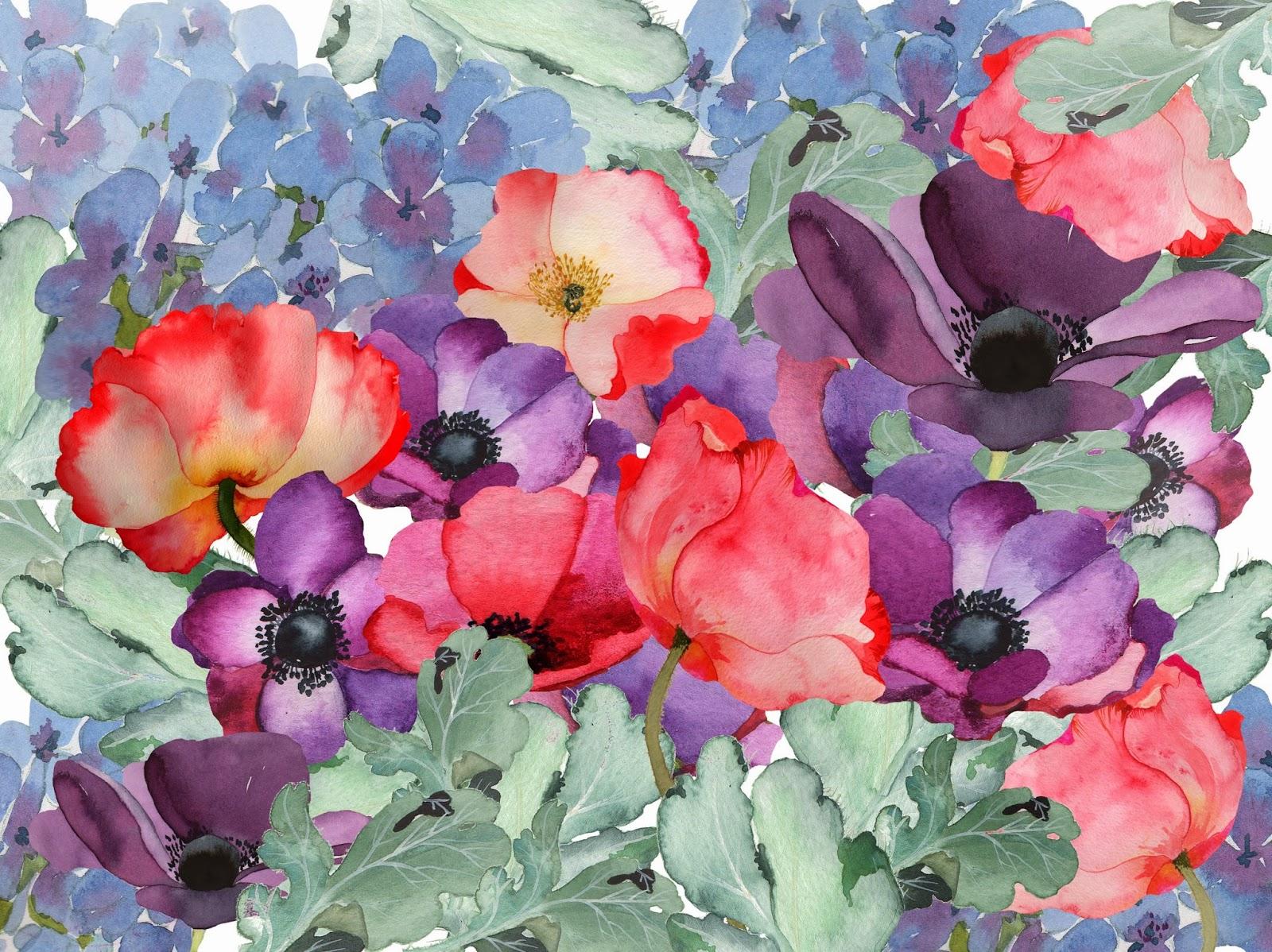 Beautiful art flower watercolor wallpaper hd 14 high - High resolution watercolor flowers ...