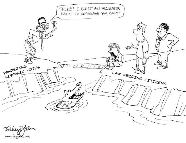Obama cartoon, immigration cartoon