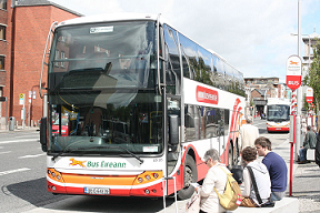 Picture of a double-deck Bus Eireann bus outside Connolly Station, Dublin