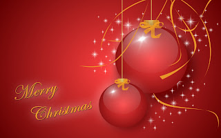 Big and small baubles decorated Christmas ornaments red background photo with Merry Christmas words