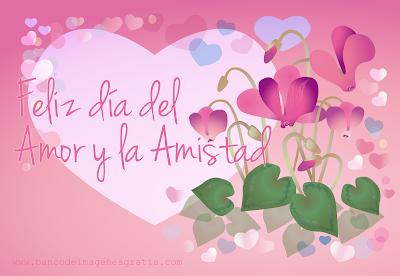 Postal con flores y corazones incluye mensaje Feliz día del Amor y la Amistad