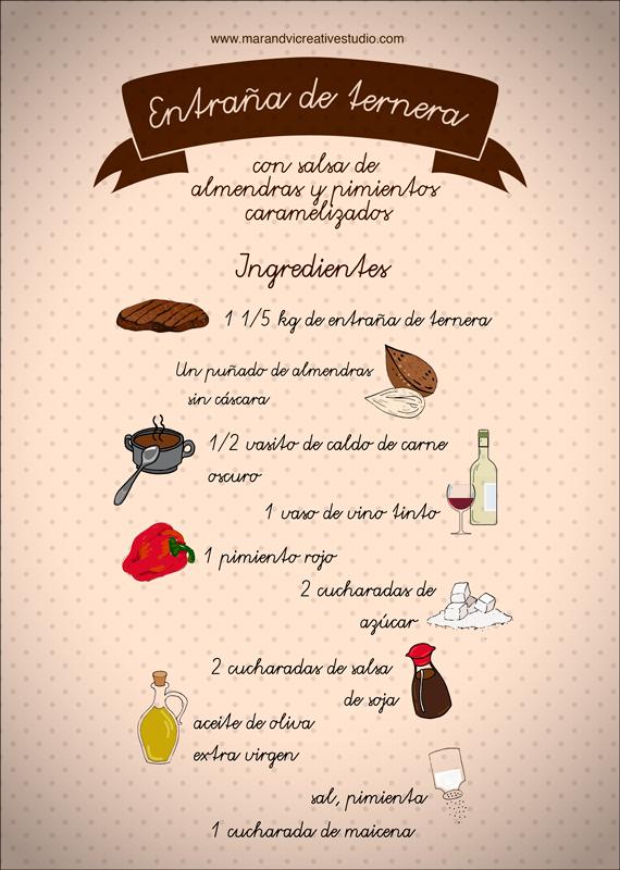 entraña con salsa de almendras: ingredientes