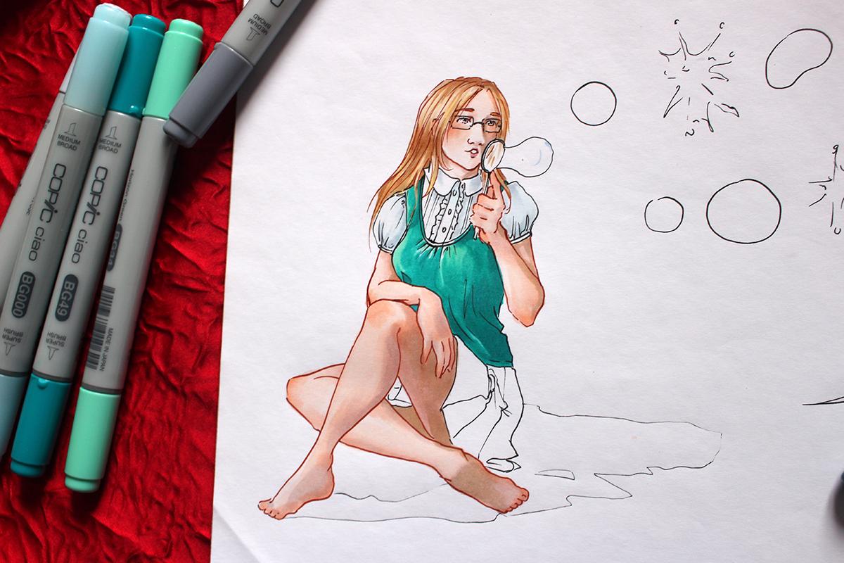 Mise en couleur du dessin de bannière les bulles d'Astate 2