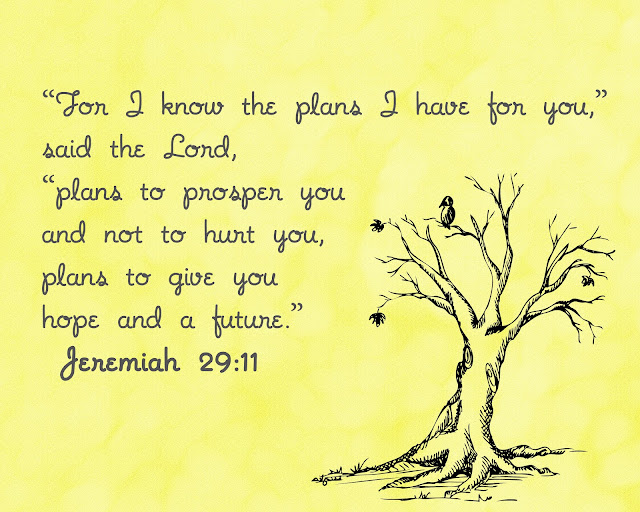 """For I know the plans I have for you,"" said the Lord, ""plans to prosper you and not to hurt you, plans to give you hope and a future."""