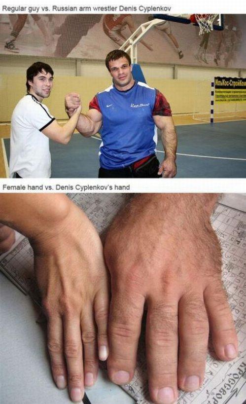 Regular Guy Hand vs wrestler Denis Cyplenkov's Hand