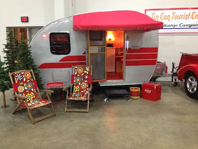 Check out the vintage camper from Tin Can Tourist Camp at Autorama