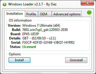 Windows 7 Loader 2.1.7, Screenshoot