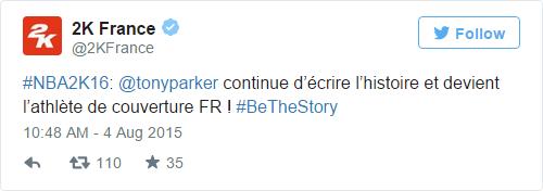NBA 2K16: Tony Parker continue d'écrire l'histoire et devient l'athlète de couverture FR ! #BeTheStory