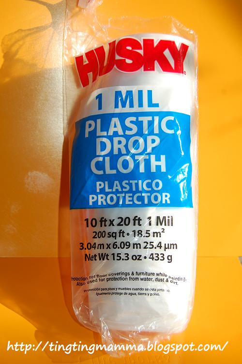 then i found this plastic drop cloth from hardware store 10u0027 x 20u0027 for about 350