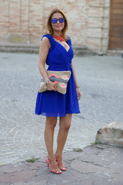 Royal blue chiffon dress, orange sandals, elegant summer outfit, Fashion and Cookies