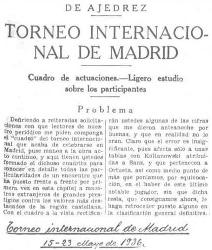 Recorte de presa sobre el Torneo Internacional de Ajedrez del Madrid F.C. 1936