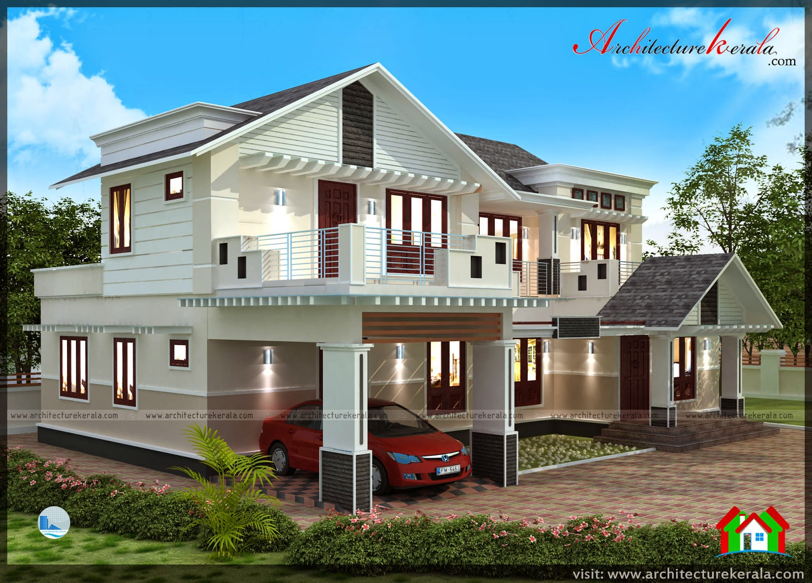Contemporary style plan and elevation architecture kerala for Kerala type house plan and elevation
