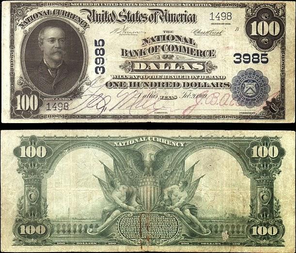 Банкнота в 100 долларов, выпущена Национальным коммерческим банком Далласа, Техас, 1902 год